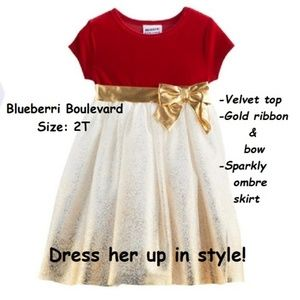 Toddler Dress Sparkle Red  and Gold 2T Last One